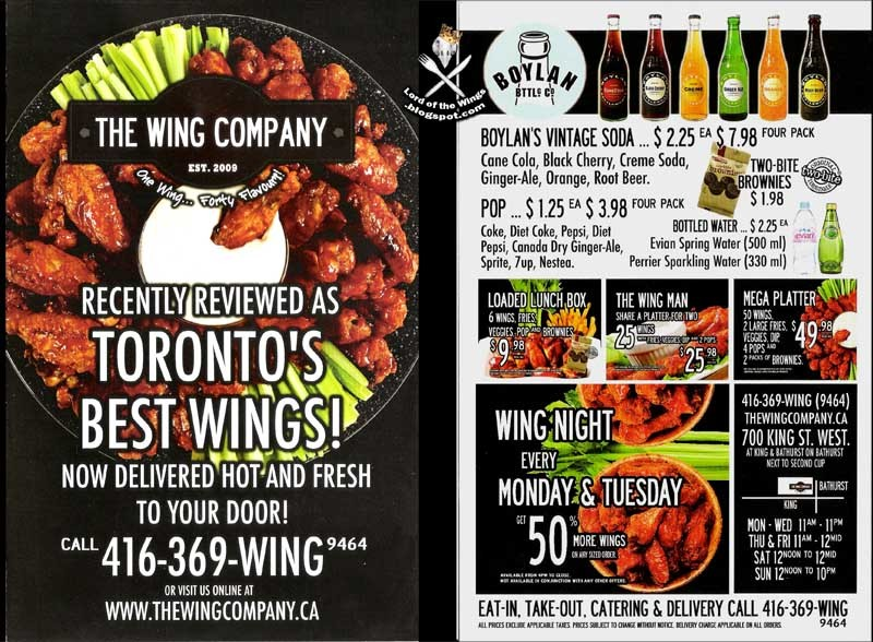 Wing The Wing Company Menu 1